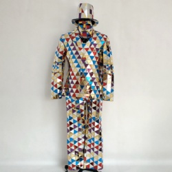 mixed color mirror man costumes
