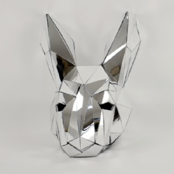 Silver mirror rabbit dance helmet