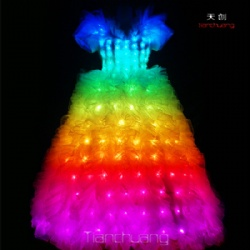 Full color led light wedding dress