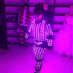 Led light clown performance costume